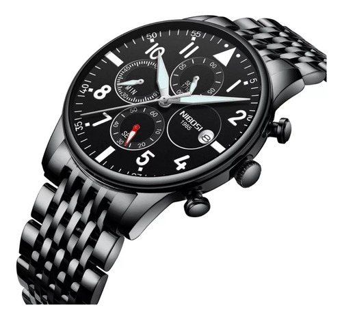 relógio masculino nibosi preto 100% funcional promoção