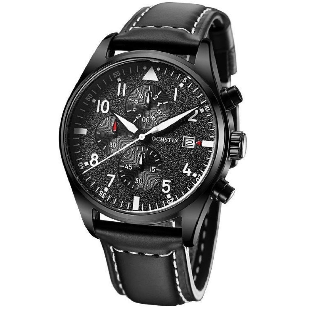9694cb74f7a relógio masculino ochstin social couro luxo + caixa barato. Carregando zoom.
