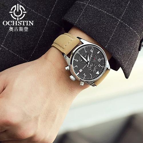 relógio masculino ochstin social de luxo pulseira de couro