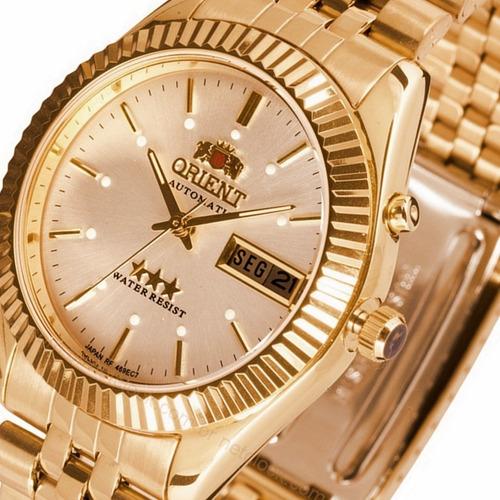 relógio masculino orient automático dourado 3 estrelas