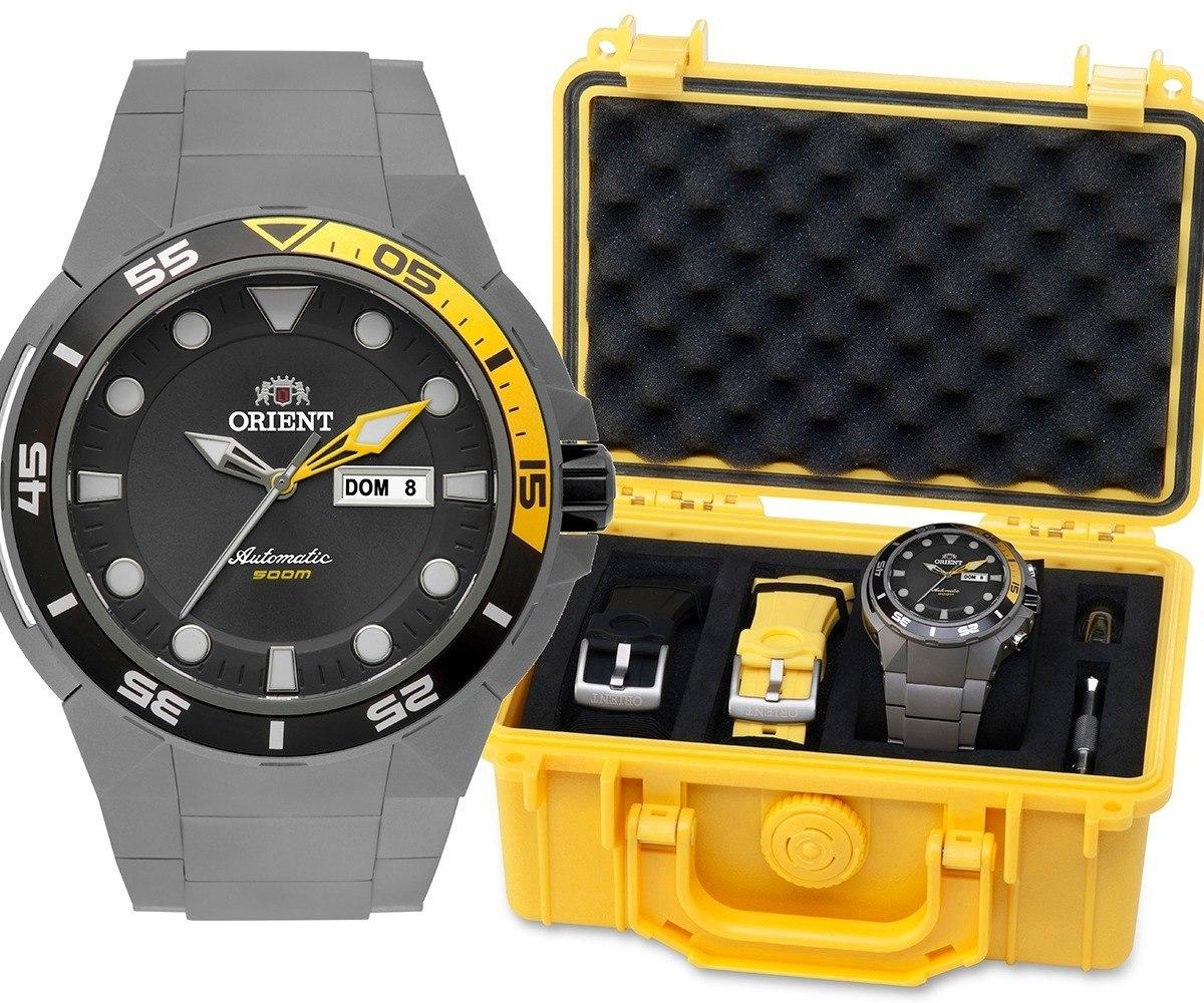 d855664e161 relógio masculino orient automático titânio kit 469ti003. Carregando zoom.