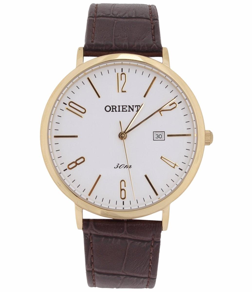 91ffa841316 relógio masculino orient couro marrom fundo branco analógico. Carregando  zoom.