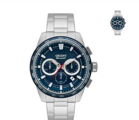 6a45a0b804d Relógio Masculino Orient - Prata E Fundo Azul Mod. Mbssc 161 - R  579