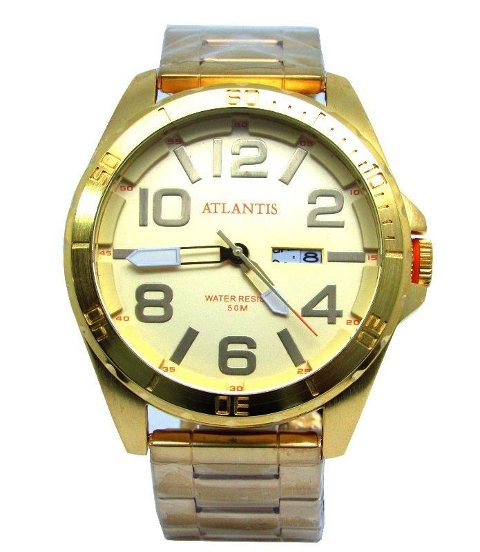 7f5e7b665d2 relógio masculino original atlantis dourado calendário novo. Carregando zoom .