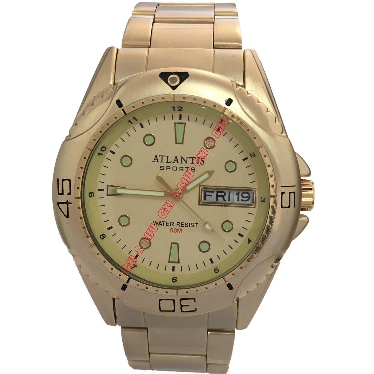 471a958c568 relógio masculino original atlantis dourado com calendário. Carregando zoom.