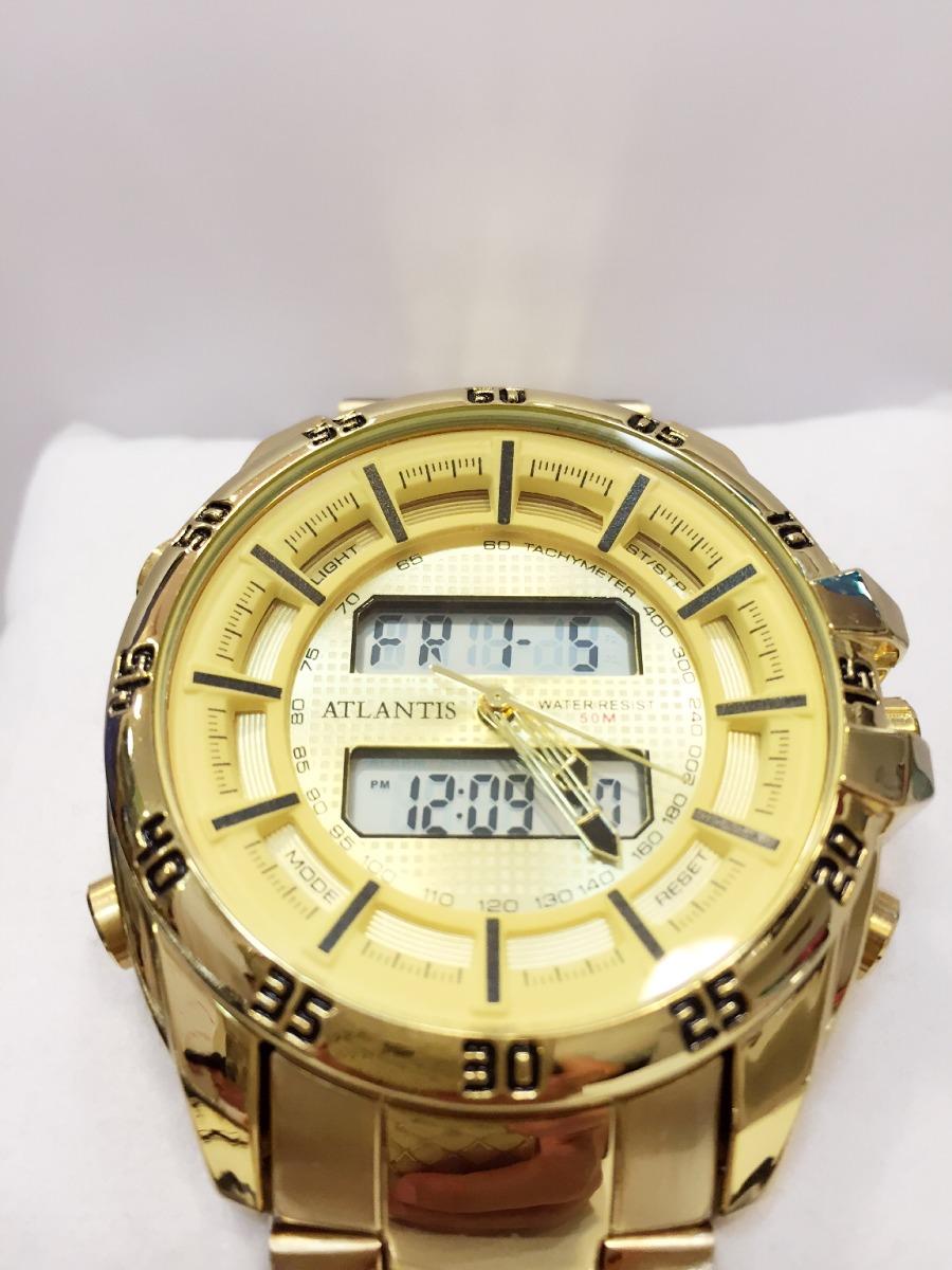 eb45b90e004 relógio masculino original atlantis dourado ponteiro digital. Carregando  zoom.