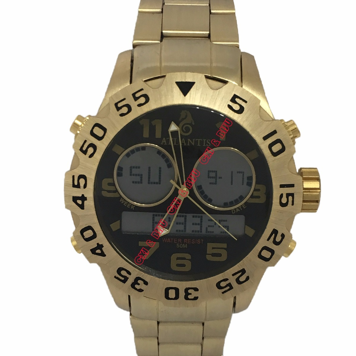 71d55921913 relógio masculino original atlantis dourado ponteiro digital. Carregando  zoom.