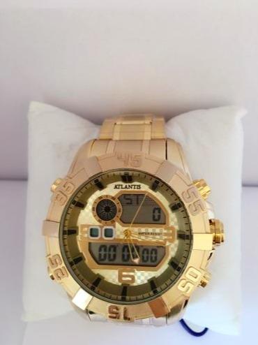 b67c2ec0bcc Relógio Masculino Original Atlantis Dourado Ponteiro Digital - R ...