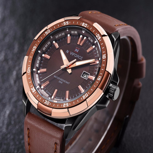 relógio masculino original couro prova d água + estojo