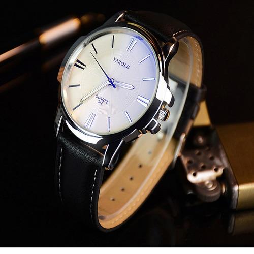relógio masculino original couro prova dágua brinde caixa