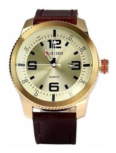 relógio masculino original curren analógico marrom e dourado