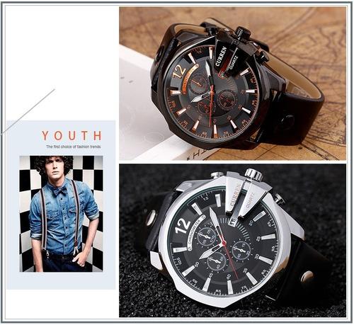 relógio masculino original curren couro de pulso - js + brinde