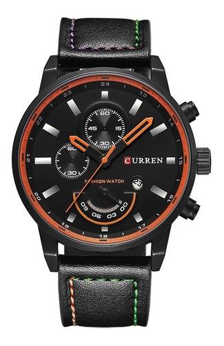 relógio masculino original curren luxo data + pulseira couro