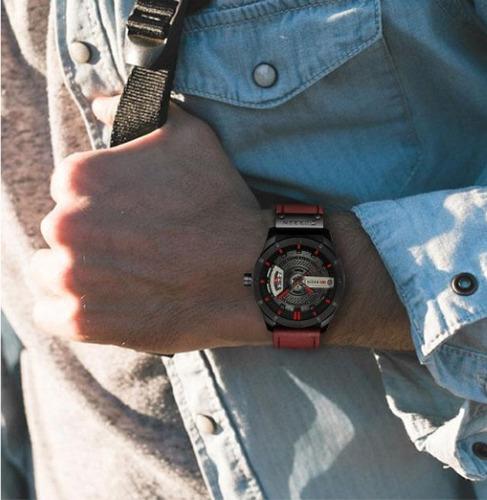 relógio masculino original curren pulseira couro ajustável
