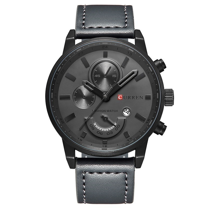 dcd7c1b8d09 relógio masculino original curren pulseira de couro aço inox. Carregando  zoom.