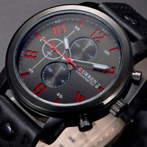 relógio masculino original curren pulseira de couro militar
