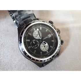 Relógio Masculino Original Fossil Preto Fosco Em Aço