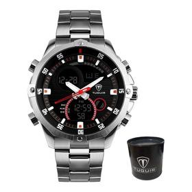 Relógio Masculino Original Grande Pesado Prata Cinza Aço