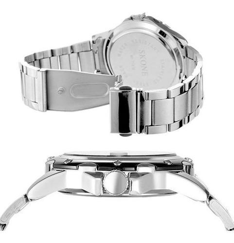 relogio masculino original importado prata aço casual lindo