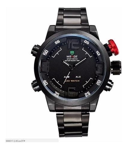 relógio masculino original luxo led preto promoção presente!