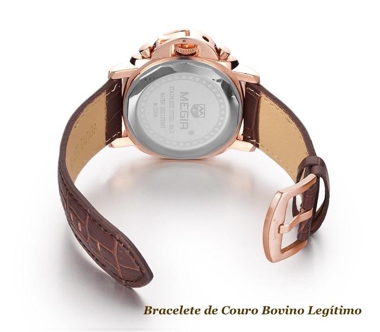 6fb4ff4fe7e Relógio Masculino Original Multifuncional Aço 316l + Ouro18k - R ...