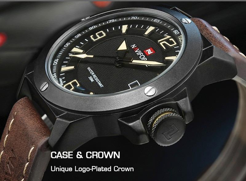 1e0344d25ab relógio masculino original naviforce em couro frete grátis! Carregando zoom.
