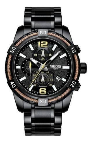 relógio masculino original nibosi luxo aço inox funcional