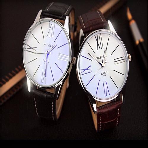relógio masculino original prova dágua couro brinde caixa