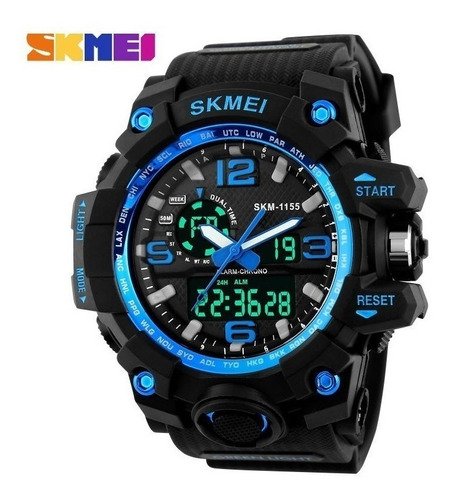 relógio masculino original skmei 1155 prova d'água azul