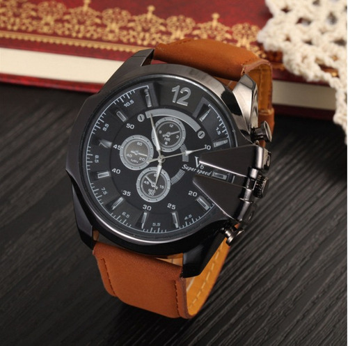 relógio masculino original super speed v6 pulseira de couro