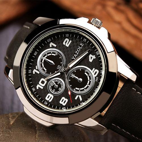 relógio masculino original yazole elegante estojo barato