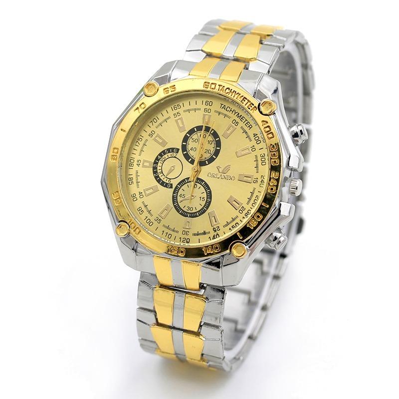 4efd4bf0edc Relógio Quartz Masculino Aço Cromado Dourado M  Orlando - R  39