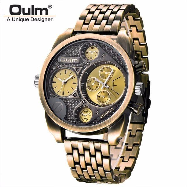 611f2f968a0 Relógio Masculino Oulm Luxo Ouro Velho Casual Frete Grátis! - R  109 ...