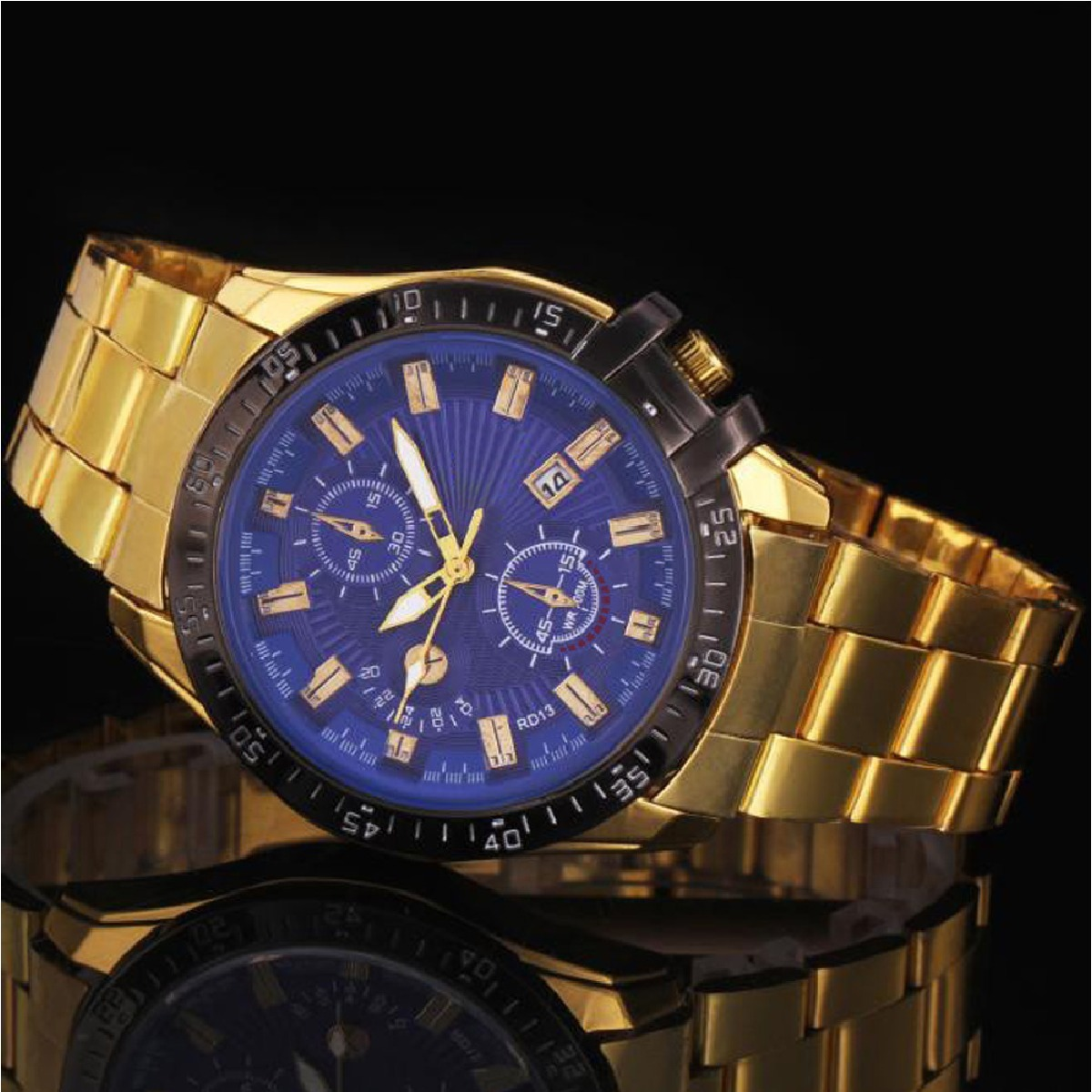 3c6f219f754 relógio masculino ouro de luxo pulso aço inoxidável. Carregando zoom.