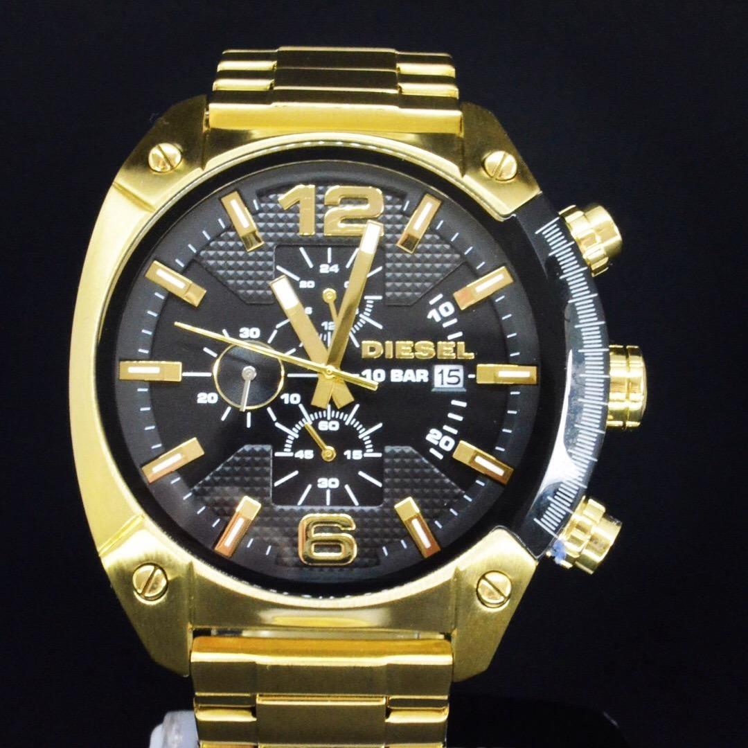 7fa40e42165 relógio masculino overflow diesel dz4342 aço dourado origina. Carregando  zoom.