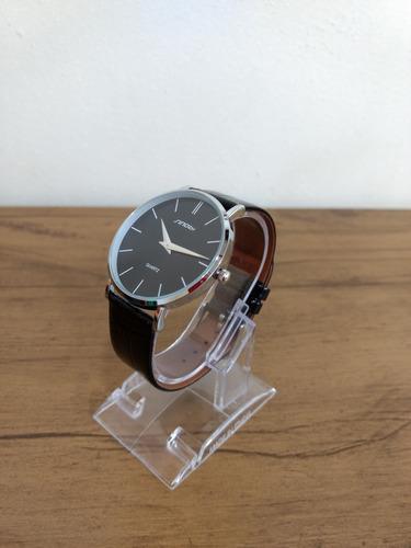 relógio masculino prata aço inox fino pulseira de couro