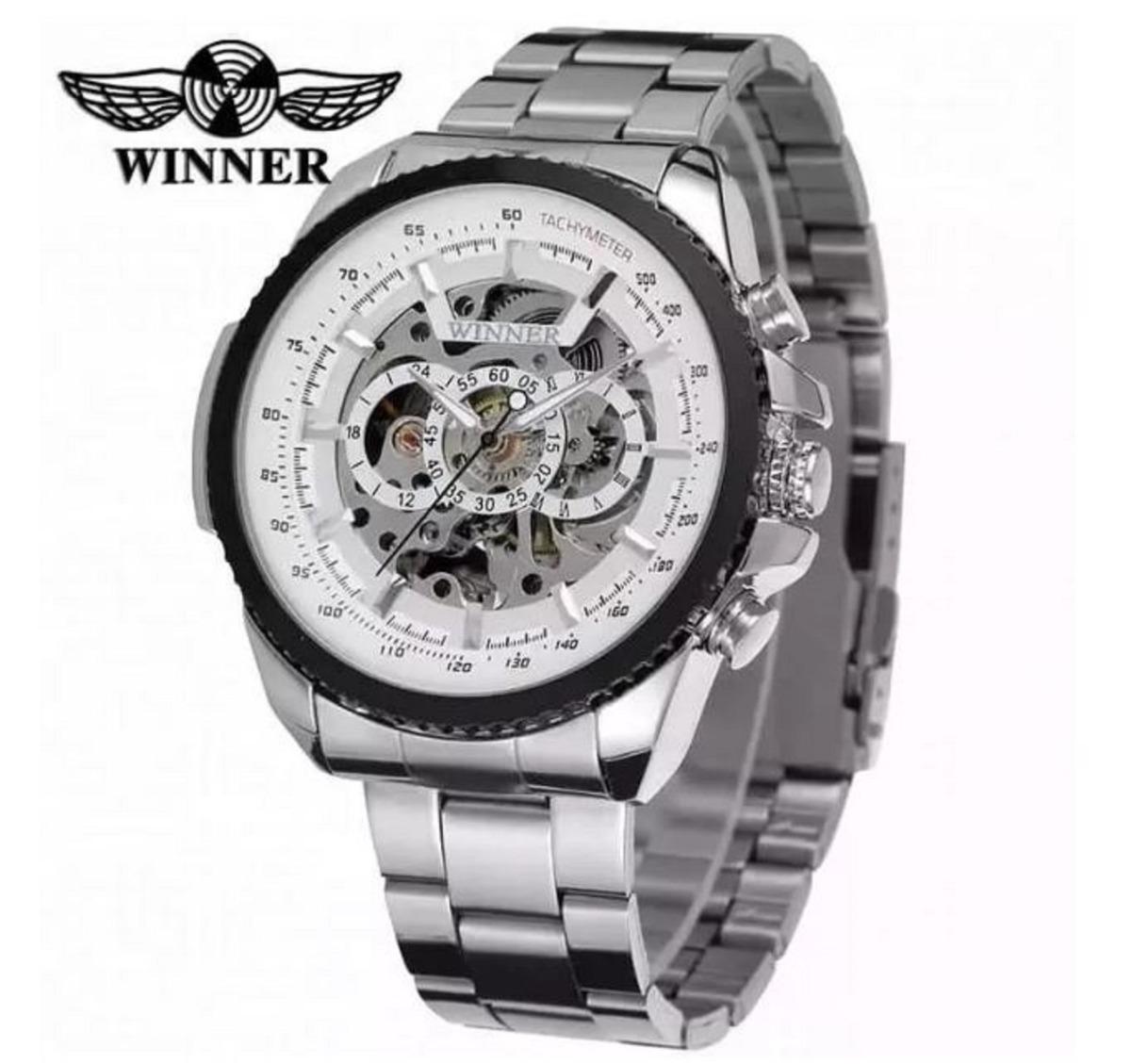 8e0ba9959b9 relógio masculino prata automático esqueleto winner. Carregando zoom.