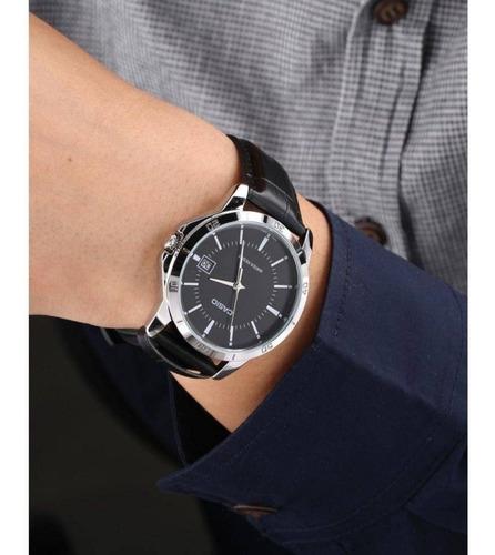 relogio masculino prata casio pulseira de couro preta  data