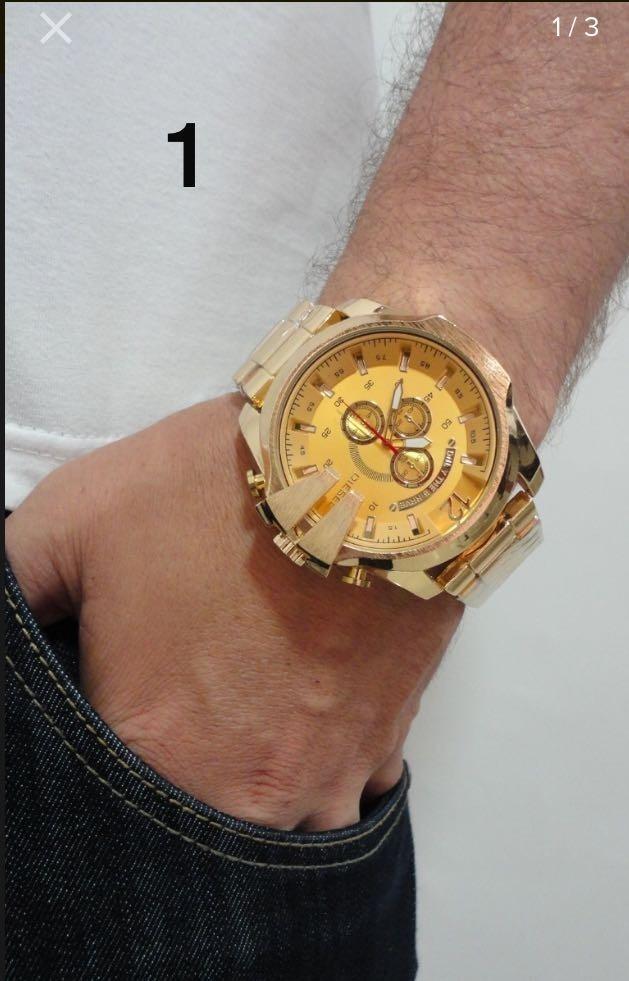 db2e29433ea relógio masculino prata dourado branco relogio top importado. Carregando  zoom.