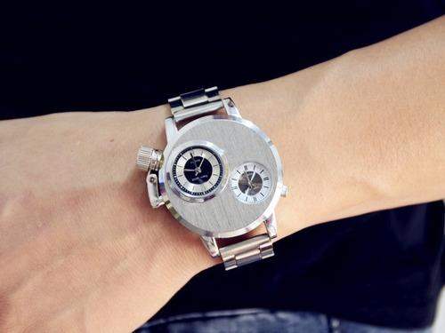 relógio masculino prata, dual time aço inoxidável, militar