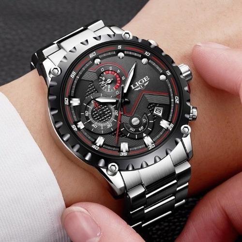 relógio masculino prata lige com nf + carteira brinde