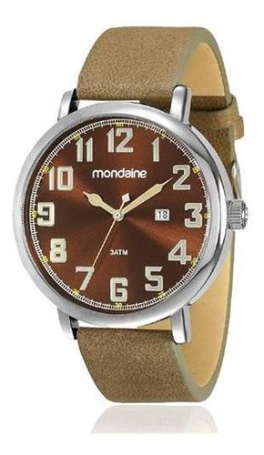 relógio masculino prata mondaine com data pulseira de couro marrom