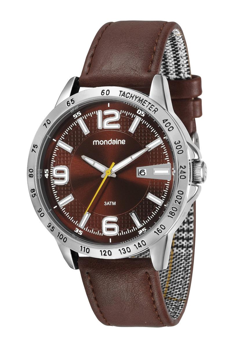5f29c3430 relogio masculino prata mondaine pulseira couro marrom data. Carregando  zoom.