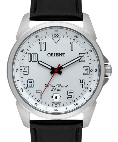 relogio masculino prata orient pulseira de couro com data mb