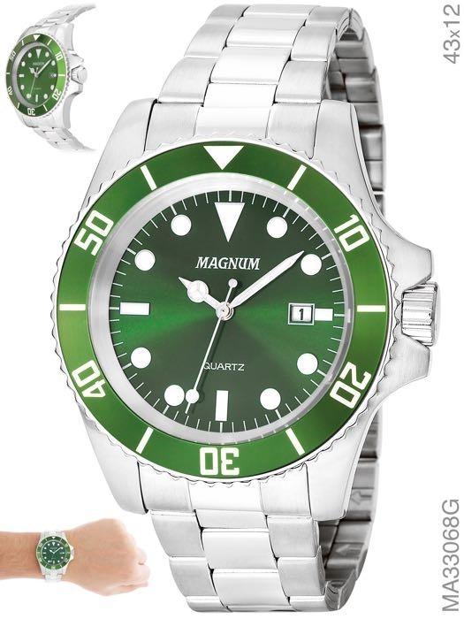 7c9906cb054 Relógio Masculino Prata Submariner Fundo Verde Original Nf - R  199 ...