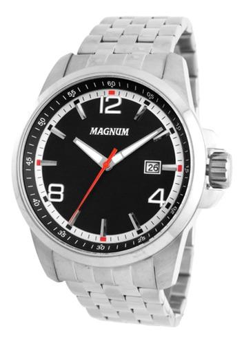 relogio masculino prata todo em aço com data magnum ma34629t