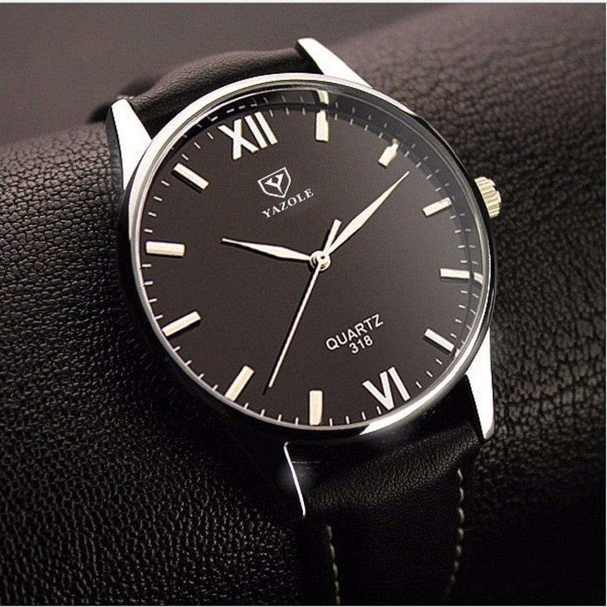 e82a1ae15dc relógio masculino prata yazole pulseira de couro barato n2. Carregando zoom.