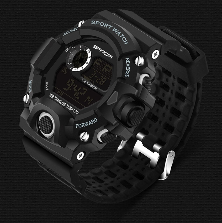 f8e5f1948be relógio masculino preto borracha digital militar sanda novo. Carregando zoom .