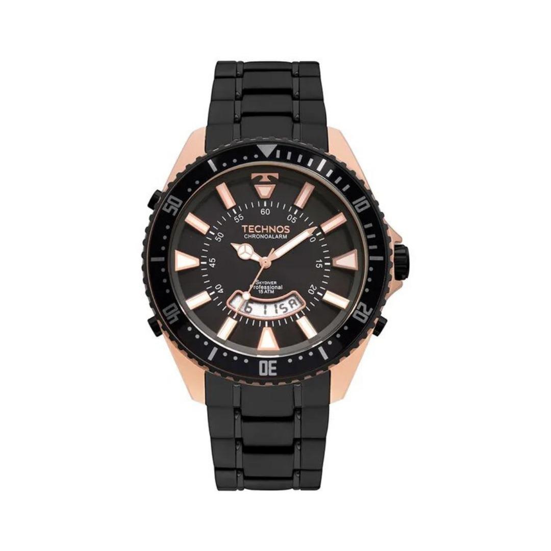 3bac9dd00ad relógio masculino preto com rose analógico digital technos. Carregando zoom.