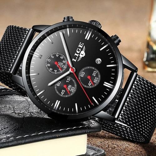 relógio masculino preto malha lige c/ nf + pulseira brinde